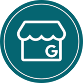 icon for google my business as a local seo factor in deep blue