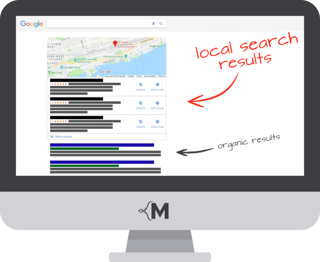 local seo services illustration of local search results